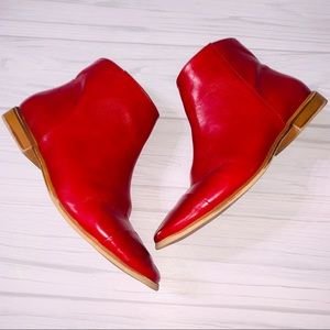 Zara Red Zip Up Ankle Boots